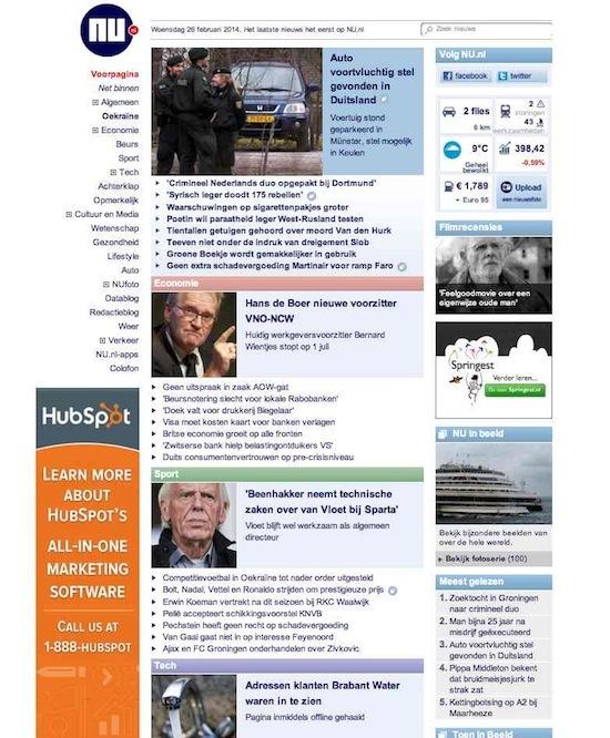 HubSpot reclame NU.nl februari 2014