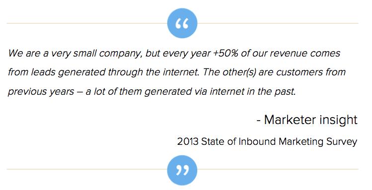 Afbeelding 4.2 inbound marketing ROI kleine en grotere bedrijven